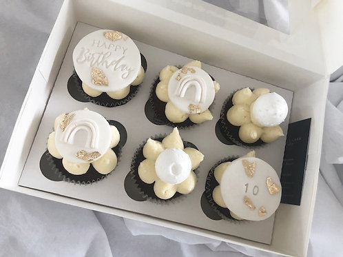 'Just to Say' Neutral Happy Birthday Cupcakes