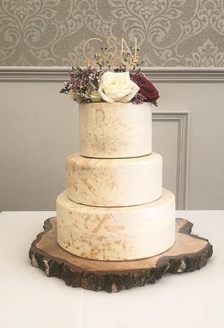 Gold Splatter Rose Cake