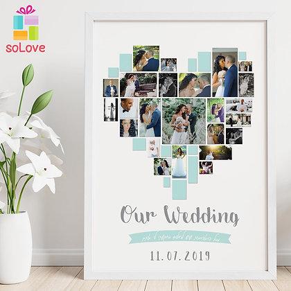 עיצוב לב חתונה 30*40
