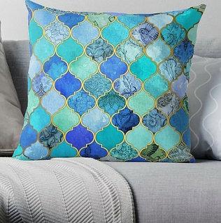 Cobalt Moroccan Tile Pattern Cushion X2