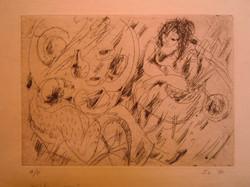 "Franci Lymburner etching ""Interior"""