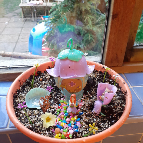 Fairy Garden with real grass seed to watch grow