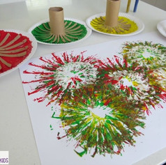 Firework art with toilet rolls and paint