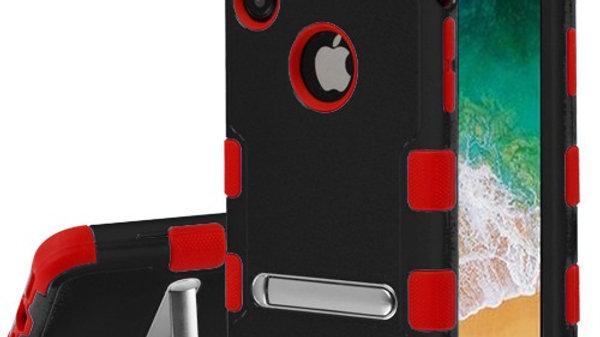 Iphone X/XS Black & Red Kickstand Three Piece