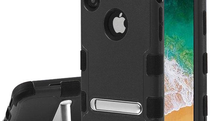 Iphone X/XS Black three piece tuff case w/kickstand