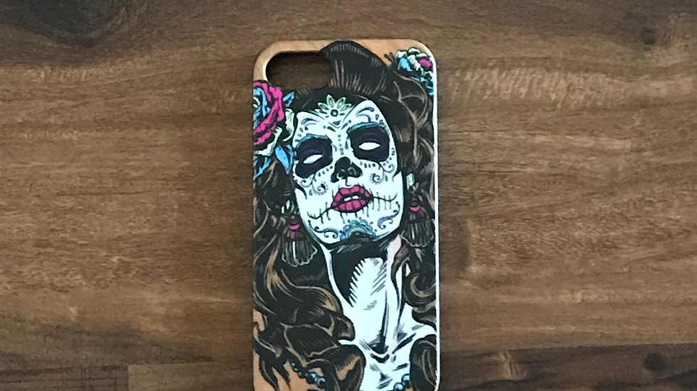 Iphone 7/8 Wood Skull Girl Color