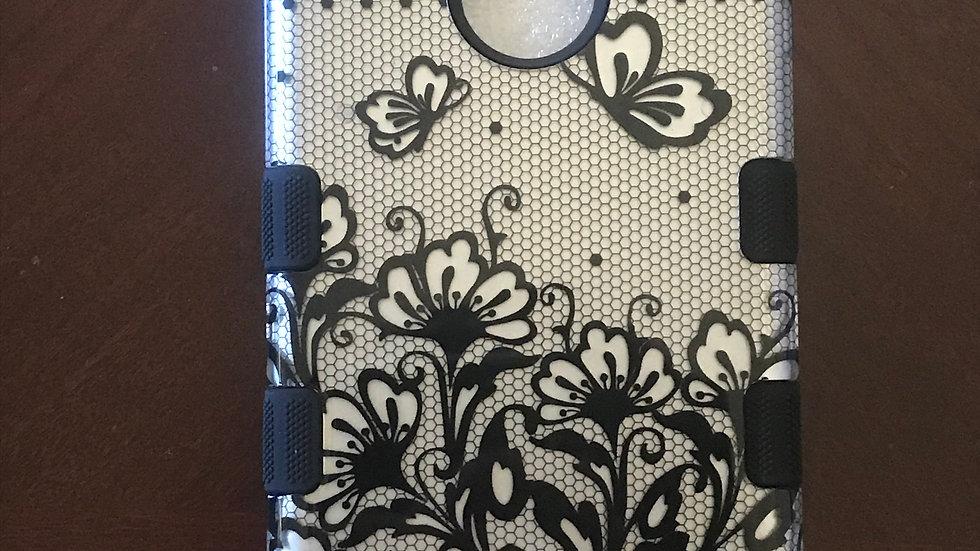 Iphone 7/8+ Silver Flower three piece case