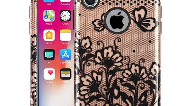 Iphone XR Rose Gold flower tuff three piece