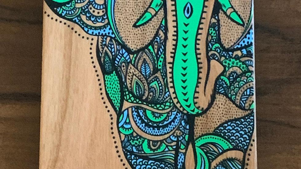 Iphone X/XS- Blue/Green Elephant Wood Case