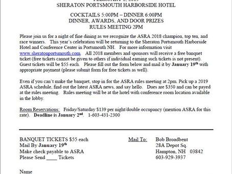 2018 ASRA Banquet Ticket Order Form