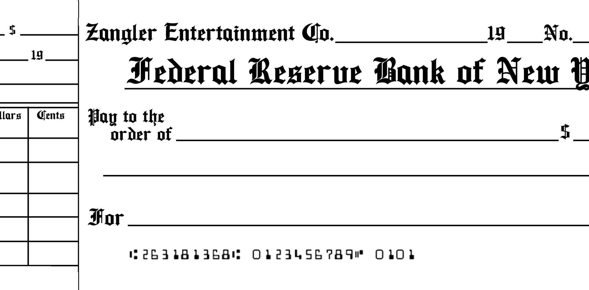 Checks for Bella Zangler's check book