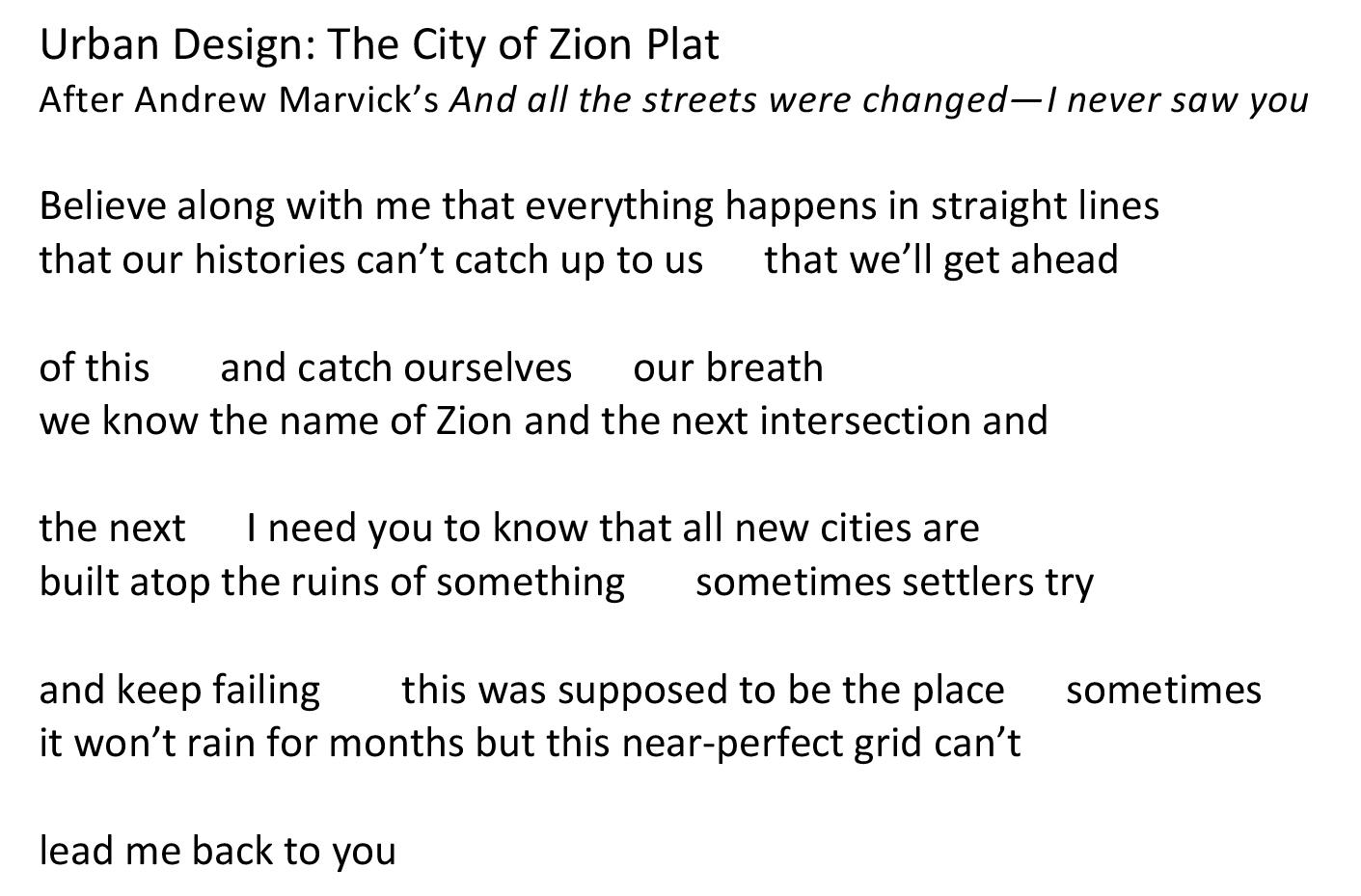 Urban Design The City of Zion Plat