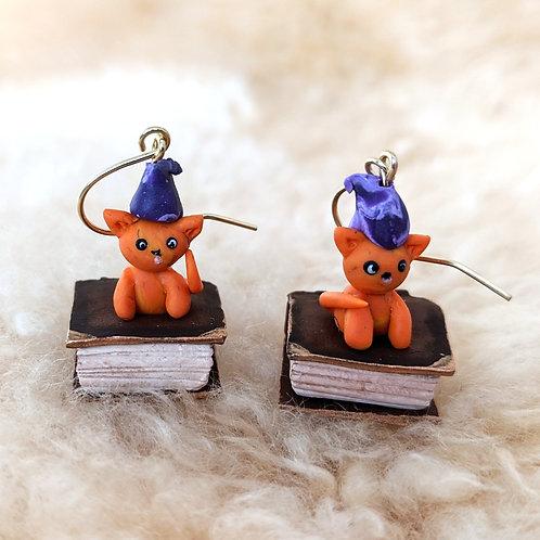 Polymer Clay Spellbook Kitten Earrings