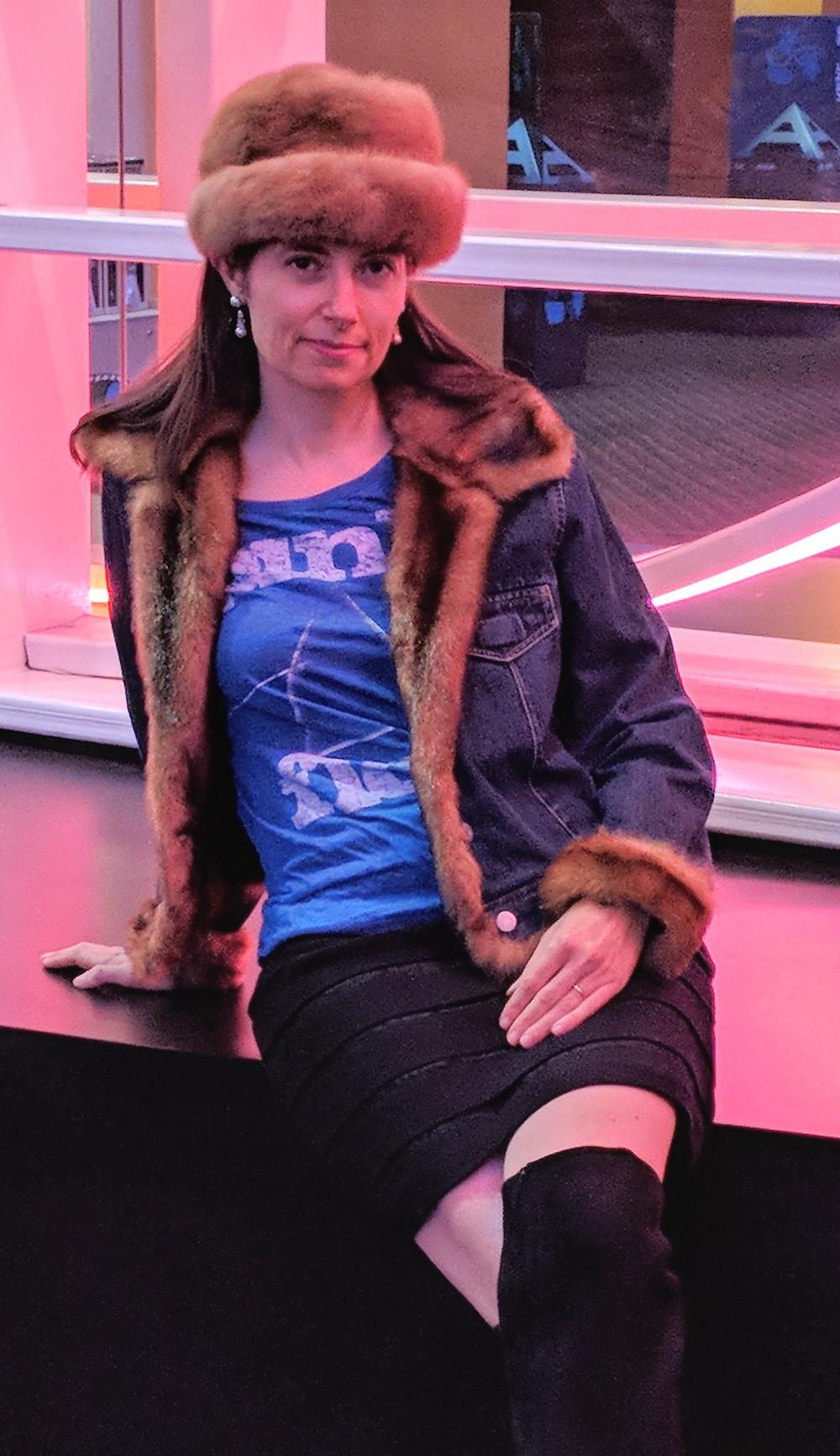 Denim and faux fur jean jacket, Michael Kors boots, Ann Taylor skirt, vintage Pink Floyd rock t-shirt, vintage mink fur hat