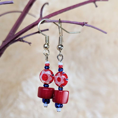 Coral and Cherry Beaded Earrings