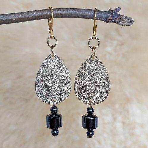Golden Teardrop Hematite Earrings