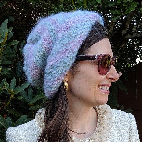 Laurelhurst Pink and Green Mohair Hat
