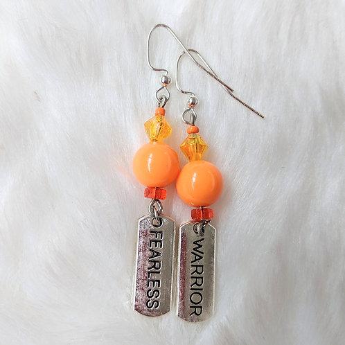 Orange Fearless Warrior Earrings