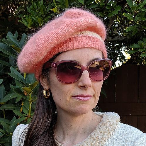 Dahlia Festival Peach Mohair Beret Hat