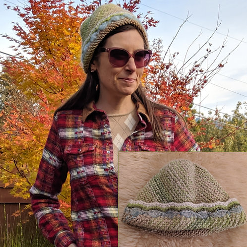 Hand knitted Upcycled Mossy Stream Women's All-Cashmere Hat