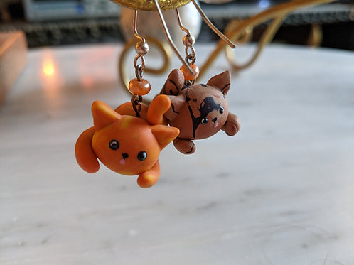 Polymer Clay Ginger and Tortoiseshell Cat Earrings