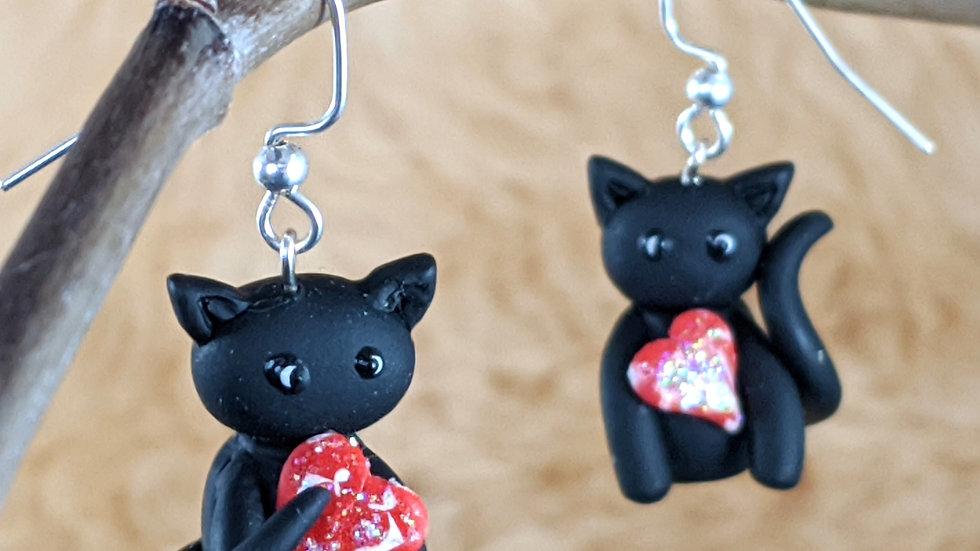 Black Cat Familiar Earrings