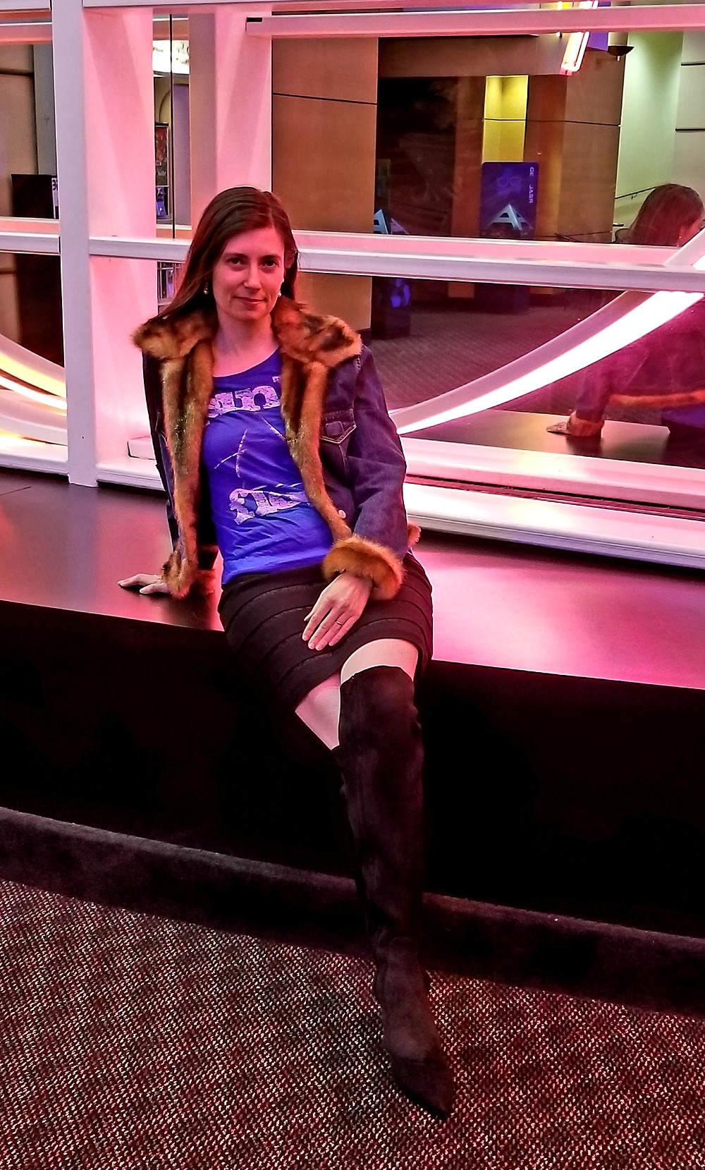 Denim and faux fur jean jacket, Michael Kors boots, Ann Taylor skirt, vintage Pink Floyd rock t-shirt
