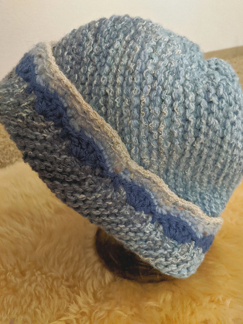 Hand-knitted Upcycled Blue Skies Woman's All-Cashmere Hat