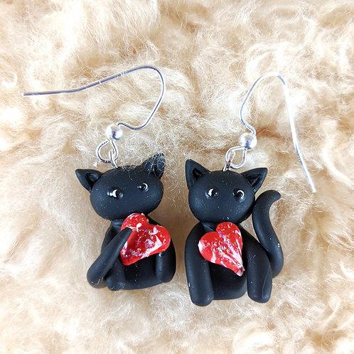 Polymer Clay Black Cat Earrings