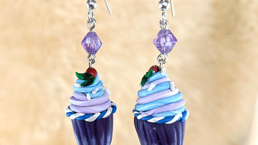 Critical Role Purple Jester Cupcake Earrings