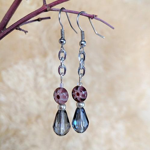 Purple Sunburst Beaded Earrings