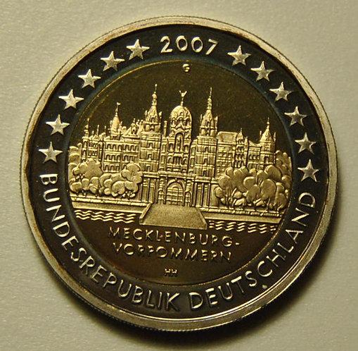 Германия. 2 евро 2007 год, Мекленбург-Передняя Померания, двор D.