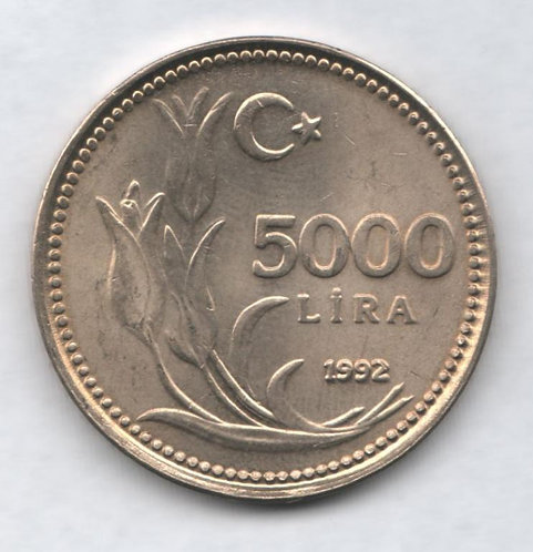 Турция. 5000 лир 1992 год. Портрет Кемаль Ататюрк.