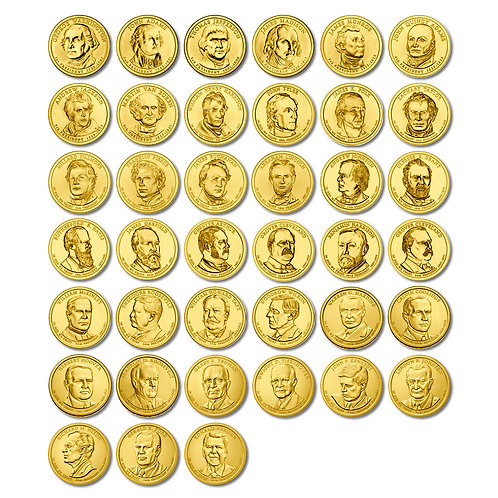 "Набор монет ""Президенты США"" 1 доллар 2007-2016 гг. 39 штук."