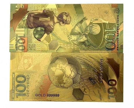 Сувенирная золотая банкнота 100 рублей 2018 г. Чемпионат Мира по Футболу