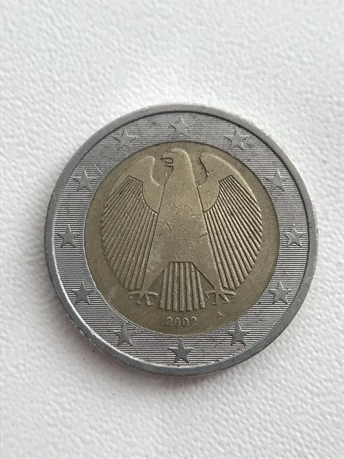 Германия. 2 Евро 2002 год. Федеральный орёл, символ суверенности Германии.