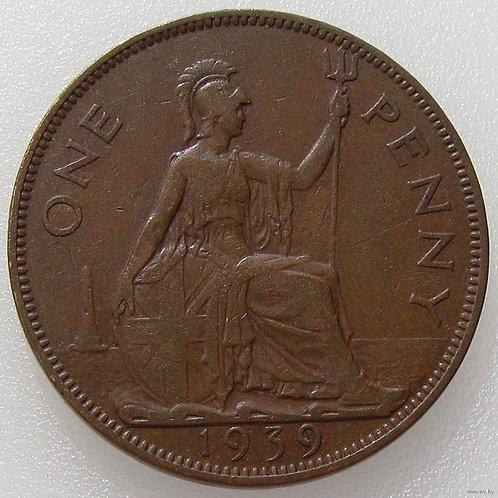 Великобритания.1 пенс 1939 год.