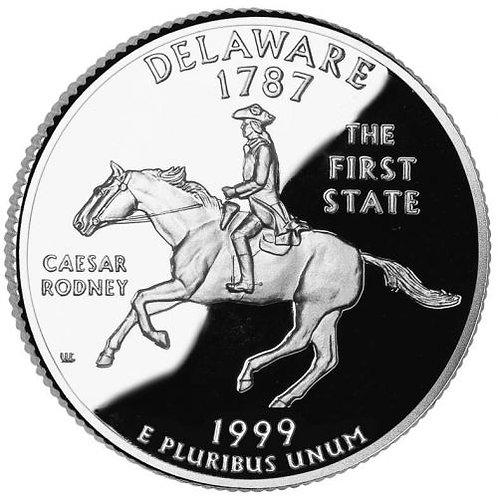 США 25 центов Квотер 1999 г. Делавар DELAWARE Штаты и Территории.