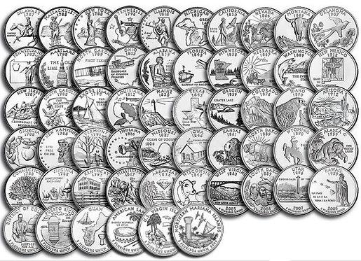"""Набор квотеров (25 центов) США серии """"Штаты и территории"""" 1999-2009 гг."""