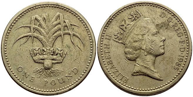 АНГЛИЯ 1 ФУНТ 1985 ЕЛИЗАВЕТА II ДИЗАЙН УЭЛЬСА Spink 4331 никель латунь 86