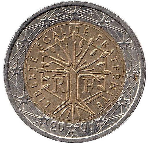 Франция. 2 Евро 2001 год. Стилизованное Дерево, символизирующее жизнь...