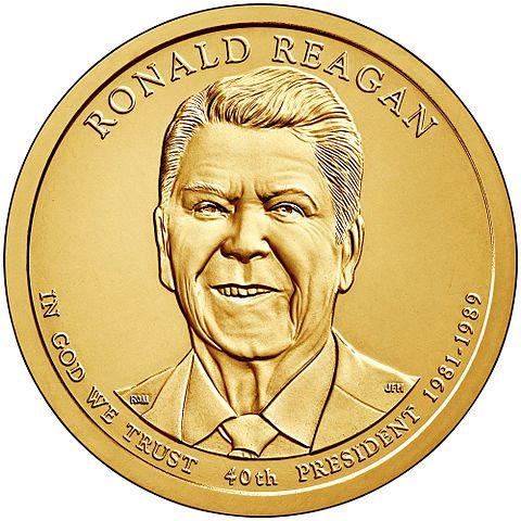 США 1 доллар 2016 г. 40-й президент Рональд Рейган.