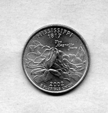 США 25 центов Квотер 2002 г. Миссисипи MISSISSIPPI Штаты и Территории.