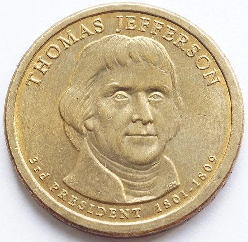 США 1 доллар 2007 г. 3-й президент Томас Джефферсон.