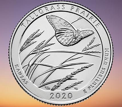 США 25 центов 2020г 55 парк Национальный заповедник Толлграсс-Прери UNC