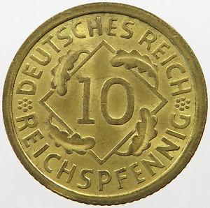 10 пфеннигов (рейхспфеннигов) 1936 г.  A  Германия.