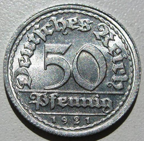 Германия - Веймарская республика. 50 пфеннигов 1921 год.