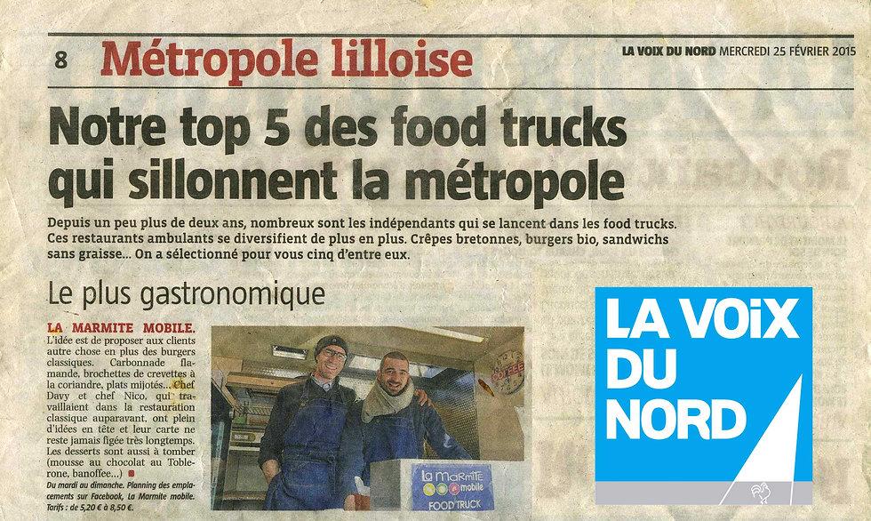 La Marmite Mobile article La Voix du Nord 2015 Foodtruck gastronomique