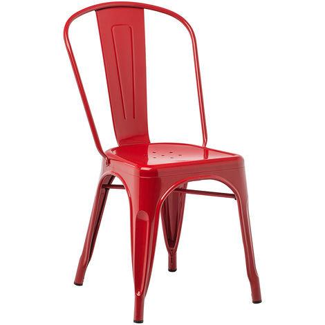 Chaise guinguette métal rouge