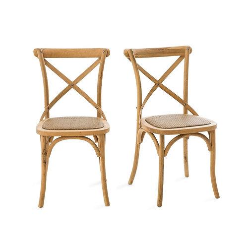 Chaise en bois et rotin